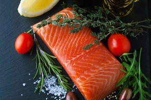 Fresh salmon with spices