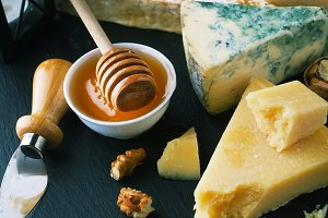 Delicious cheeses on a board