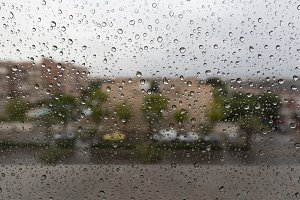 Raindrops on a window glass