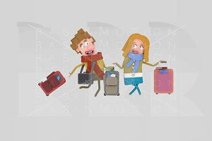 3d illustration. Couple suitcases.