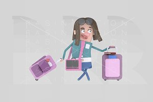 3d illustration. Girl with suitcase.