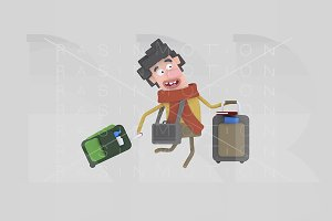 3d illustration. Boy with suitcase.