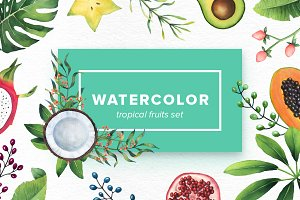 Watercolor Tropical Fruits Set