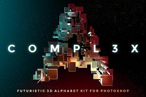 COMPL3X - Futuristic 3D Alphabet Kit