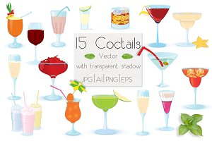 15 Vector coctails with trancperency