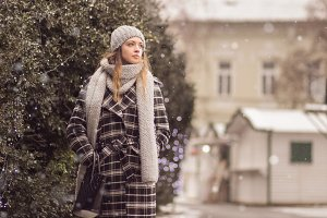 walking woman winter clothes outdoor