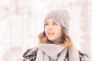 young woman winter face head closeup