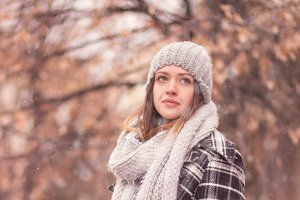 portrait young woman winter cold
