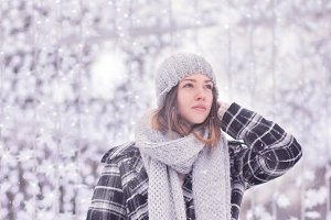 young woman snowing snow winter cold