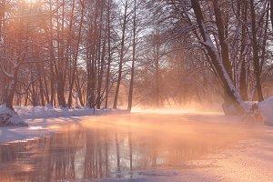 Frozen morning river