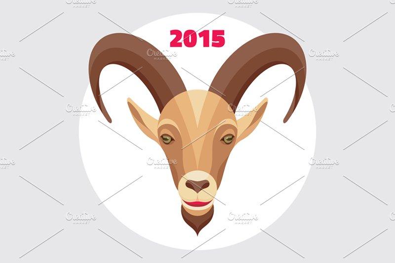 goat symbol happy new year 2015 illustrations creative market