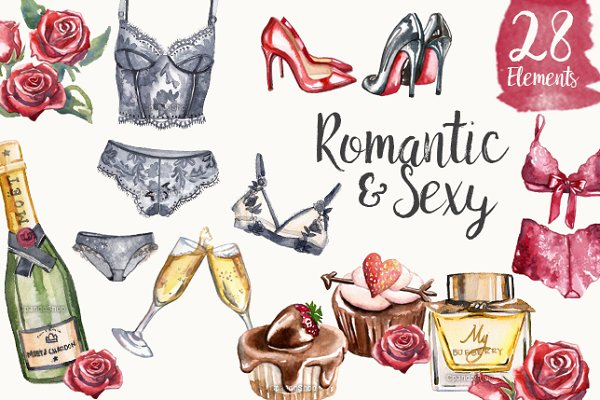 Valentine's Day lingerie watercolor