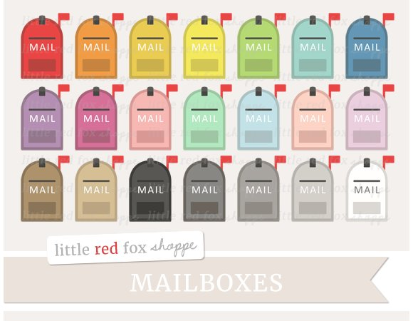 Mailbox Clipart Illustrations Creative Market