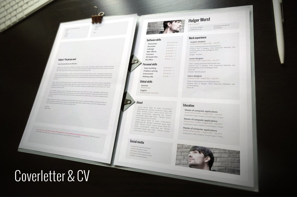 Cv Cover Letter Portfolio Template Resume Templates Creative