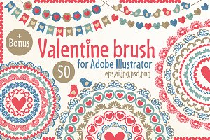 valentine pattern brushes