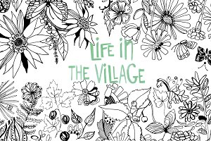 Coloring book Life in the Village
