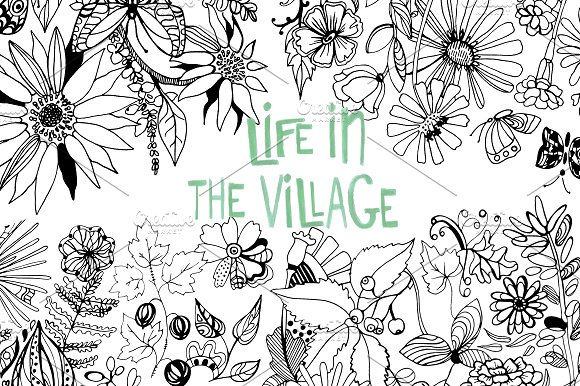 Coloring Book Life In The Village Illustrations Creative Market