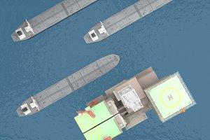 Oil platform with tankers top view 3d rendering