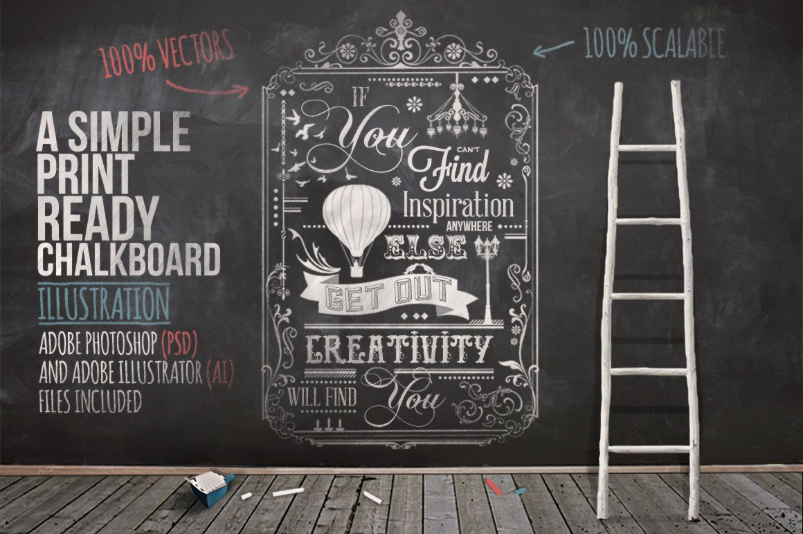 typography chalkboard print 2 illustrations creative market