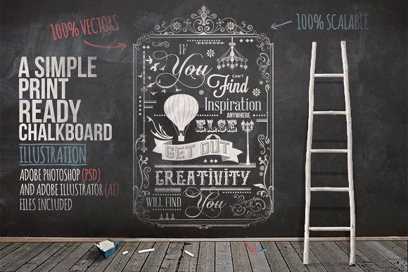 typography chalkboard print 2 illustrations on creative market. Black Bedroom Furniture Sets. Home Design Ideas