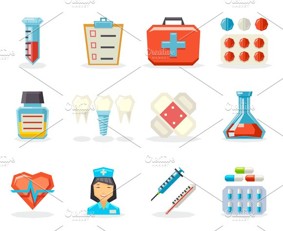 Medical Isolated Polygonal Icons