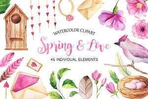 Watercolor Spring&Love Set