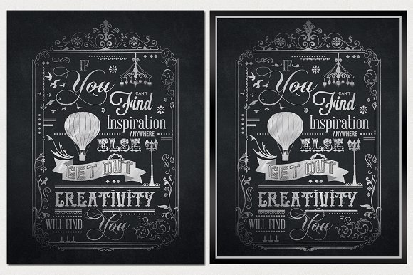 typography chalkboard print 2 illustrations creative market