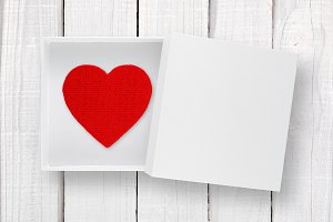 Red heart in white box