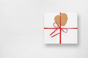 Gift box with tag in form of heart