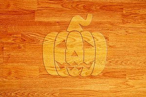 Pumpkin over wooden background