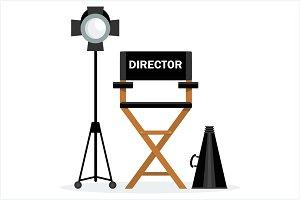 Director chair, megaphone