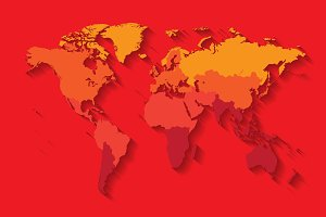 World map with countries red color