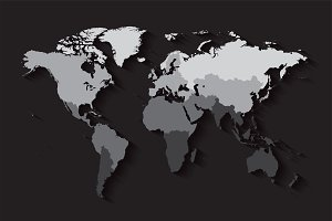 World map with countries black