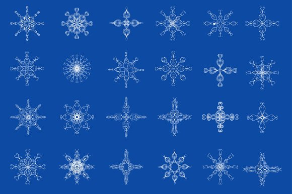 Snowflakes. Design elements. Set. - Objects