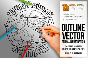 Animal Outline Vector - Salmon
