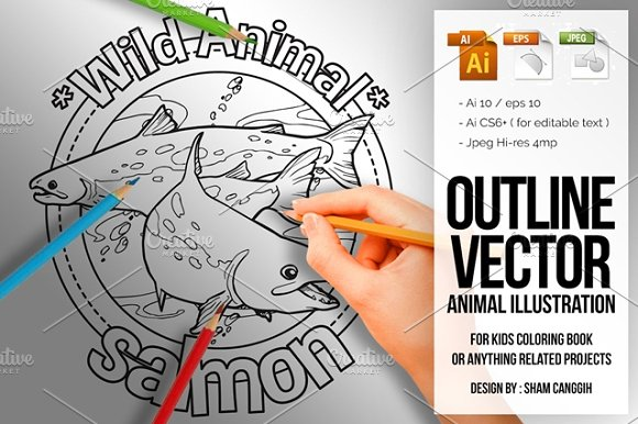 Animal Outline Vector Salmon