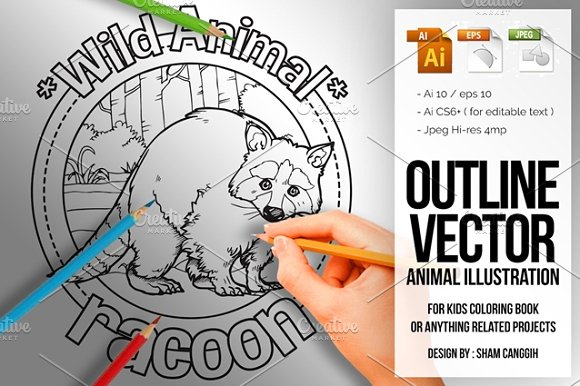 Animal Outline Vector Racoon