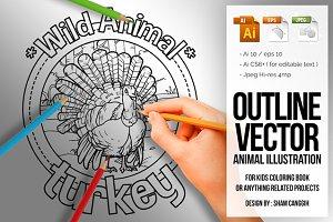 Animal Outline Vector - Turkey