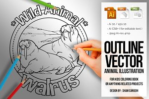 Animal Outline Vector - Walrus