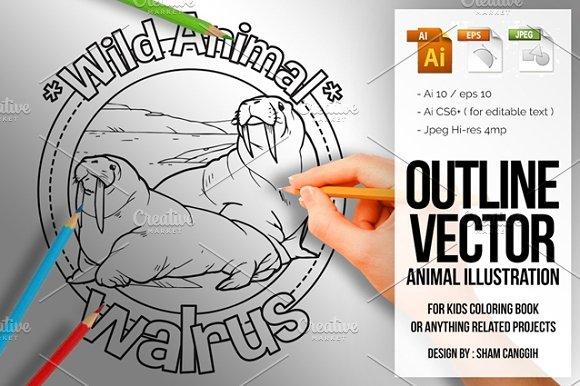 Animal Outline Vector Walrus