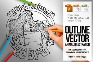 Animal Outline Vector - Zebra