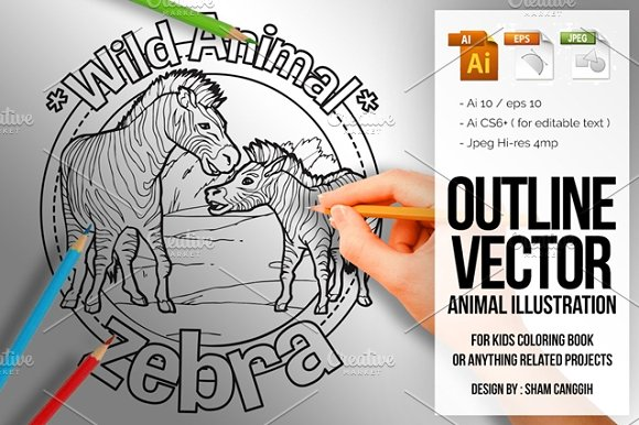 Animal Outline Vector Zebra
