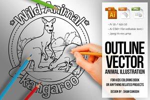Animal Outline Vector - Kangaroo