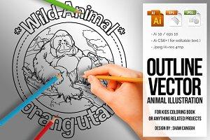 Animal Outline Vector - Orangutan