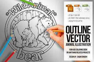 Animal Outline Vector - bear
