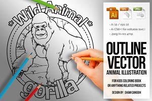 Animal Outline Vector - Gorilla