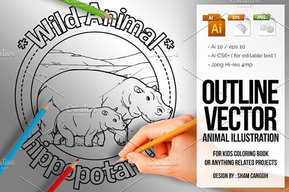 Animal Outline Vector Hippopotamus
