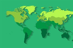 Wrold map with countries green