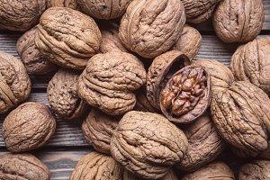 Many large walnuts.