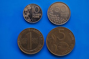 finnish coins pre euro era over blue